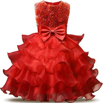 Newborn Baby Dress Kids Party Wear Princess Costume For Girl Tutu Bebes Infant 1 2 Year Birthday Dresses Girl Summer Red Clothes