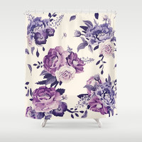 Purple floral boho pattern Shower Curtain by printapix