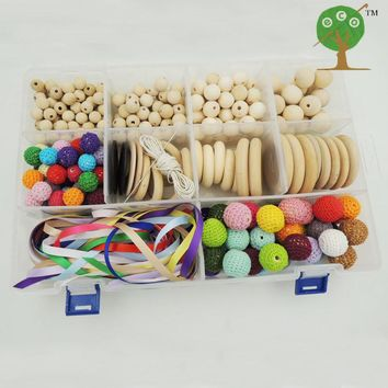 DIY set box of  wooden rings crochet beads for Teething necklace