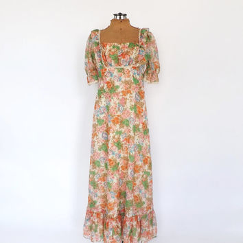 Vintage 1960s Prairie Nouveau Floral Cotton Maxi Dress 1970s Crochet Lace Peasant Dress Edwardian Dress 70s Prom Gown Boho Hippie Sundress