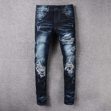 France Style #526# Mens Distressed Embellished Ribbed Stretch Moto Pants Biker Jeans Slim Trousers Size 28-42