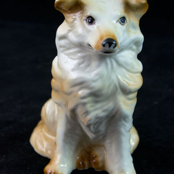 Shepherd Collie Mix Figurine Dog Figurine Mid Century Japan Collectible
