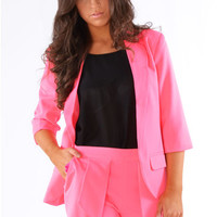 Delilah Two Piece Fitted Blazer And Pleated Wrap Short Set In Neon Pink