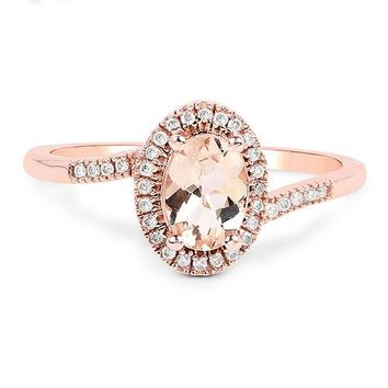 14K Rose Gold Natural .85CT Oval Cut Peach Morganite & Natural White Diamond Halo Ring