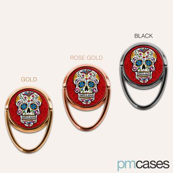 Sugar Skull Phone Ring Finger Holder Mount Stand Grips