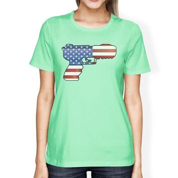 American Flag Pistol Design T-Shirt For Women Unique Patriotic Gift