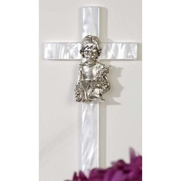 Girl's Mother of Pearl First Communion Wall Cross