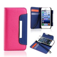 Gearonic TM Hot Pink Blue Wallet PU Leather Card Holder Magnetic Flip Cover Case for iPhone 5/5S by GEARONIC:Amazon:Cell Phones & Accessories