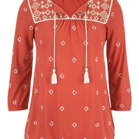 Embroidered Banded Bottom Peasant Top - Terra Cotta