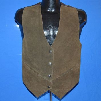 70s Leather Snap Front Vest Men's Small