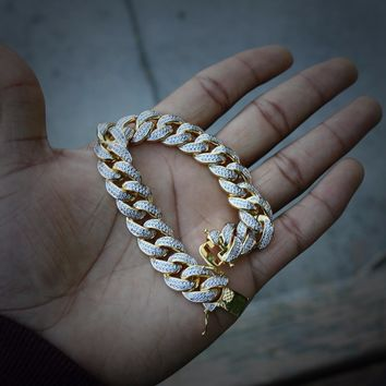 Iced Out Micropave Cuban Link Bracelet (14mm)