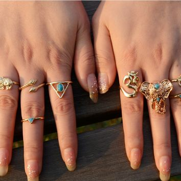 8 Pcs/ Set Bohemian Punk Ring Set ,18K gold plated Gypsy Boho Elephant Snake Turquoise Natural Stone  Ring