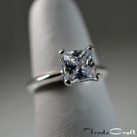 1.59 Carat Princess Cut Cubic Zirconia Solitaire 4 Prong Sterling Silver Engagement Promise Commitment Ring Faux Diamond Simulant Sizes 4-9