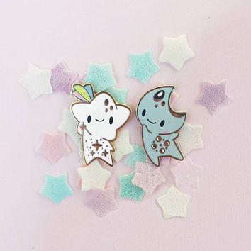 Star Baby & Moon Baby Space Friends Hard Enamel Lapel Pins - As a BFF Set or separate - Unique Cute Kawaii Gift