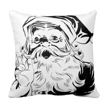 Black and White Vintage Santa Christmas Pillow