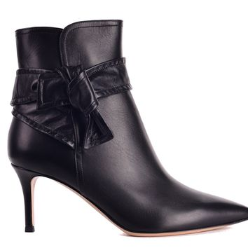 Gianvito Rossi Womens Black Leather Lane Mid Ankle Boots