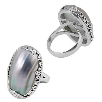 "SR-8037-CKL-6"" Sterling Silver Ring With Shell"