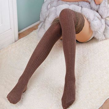 Fashion Women's Lace Cotton Over Knee Thigh Stockings Knit High Stocking PY3 L4