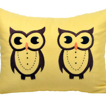 Owl Lumbar Pillow Cover, Decorative Pillow Cover,Yellow Linen withTwin Brown Owl, Bird Pillow Accent, Cushion Cover 12 x 16