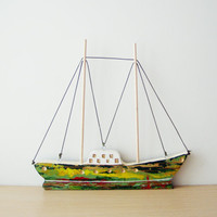 Folk wooden sailboat, reclaimed beehive wood Greek sailboat, two sided colourful boat for desk or wall, Greek folk art