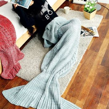 PEAPDQ7 Knitted Sofa Bedding Mermaid Blanket
