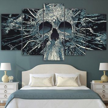 Wall Decor Art HD Print Painting 5 Pieces Scary Skull Mask Abstract Picture