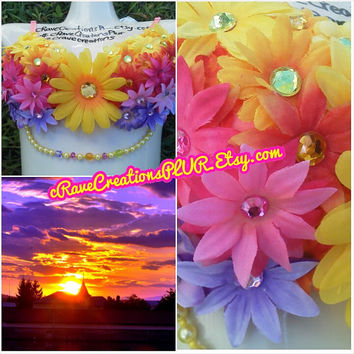 Custom Bra: Yellow Pink Orange and Purple PLURfect Petals Sunset Design Rave Bra Costume Flower Bling Corset Bustier Lingerie LED Light Up