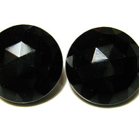 Black Vintage Clip Earrings Faceted Glass Round Womens Mid Century Silver Tone