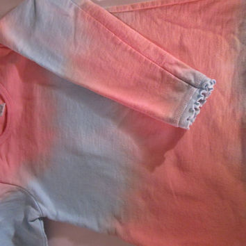 Peach, blue,  long sleeve shirt, French Terry, Size 6, ruffle edges at sleeves and hem, beautiful, machine wash.