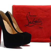 Christian Louboutin CL shoes 16CM black sheep suede shoes