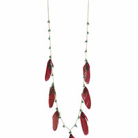 Long Feather Chain Necklace - Topshop
