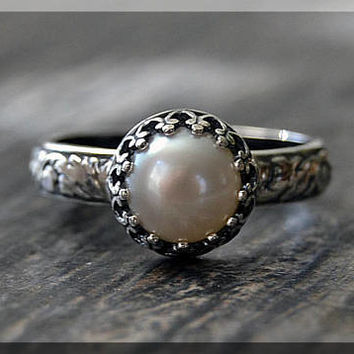 Sterling Silver Pearl Ring, June Birthstone Ring, Crown Bezel Ring, Gemstone Ring, Luminous Pearl Stacking Ring, Flower Detail Shank Ring