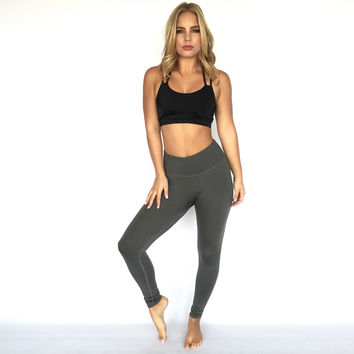 Stretch & Tone Yoga Pants In Charcoal Grey
