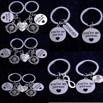 You Are My Person Broken Heart Keychain Compass Infinity Keyring Mother Daughter Family Key Chain Lovers Friends Key Ring Gifts