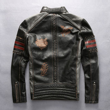 mens Harley genuine cow leather jacket male embroidery motorcycle rider slim cowhide leather jacket motorcycle jacket