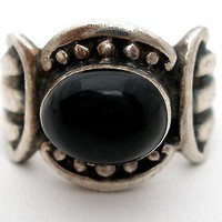 Wide Sterling Silver Black Onyx Ring Size 7 Vintage