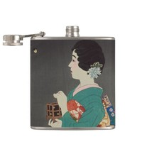 Woman with Firefly Cage Japanese Vintage Art Flask