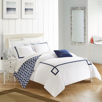 Chic Home 4-Piece Xanti Contemporary Greek Key Embroidered REVERSIBLE King Duvet Cover Set Navy Shams and Decorative Pillows included Blue