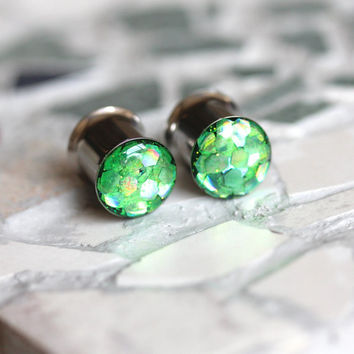 Green Glitter Plugs, Shimmer Plugs, Green Gauges, Glitter Plugs, Summer Plugs - sizes 0g, 00g, 7/16, 1/2, 9/16, 5/8, 3/4, 7/8, 1""