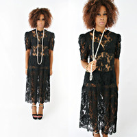 vintage 80s black SHEER lace FLAPPER drop waist MAXI dress