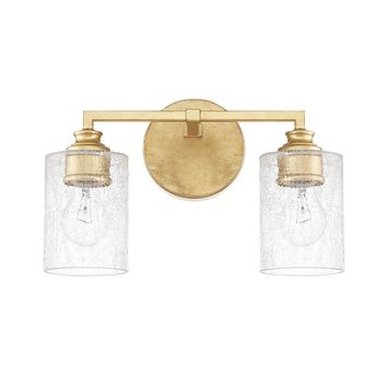 Upside down bulb 2-light Capital Gold Bath/Vanity Light  - frosted glass - Modern