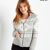 Aeropostale  Fair Isle Shawl Neck Full-Zip Sweater