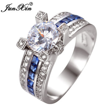 JUNXIN Unique Sapphire Jewelry Blue Round Zircon Stone Ring White Gold Filled Wedding Engagement Rings For Women Men