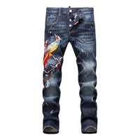 Italian Luxury Famous Brand Jeans For Men High Quality Fashion Designer Printed Jeans Embroidery Print Skinny Jeans Men D1453