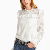 White Eyelet Embroidered Keyhole Back Ruffle Trim Top -SheIn(Sheinside)
