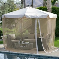 11-FT Gazebo Umbrella With Detachable Netting In Beige Tan