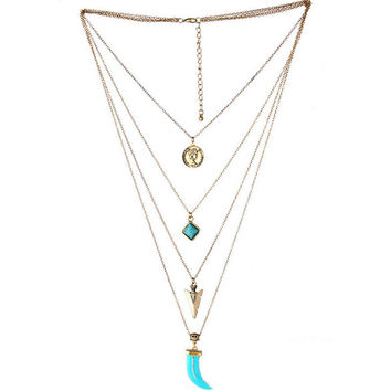 Retro Multilayer Bohemian Gold Plated Long Chain Turquoise Necklace