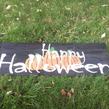 Barn Wood, Happy Halloween, sign, October, pumpkins, Jack O' Lantern, Rustic wood, primitive, home decor, Autumn, Fall, pallet wood