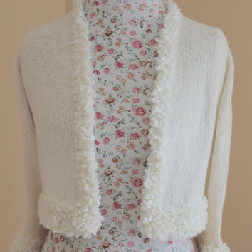 Wedding Bolero Kate Middleton Sweater Blend of Goat Angora, 3/4 Sleeve Crop Bridal Bolero, Hand knit sweater, Wedding Cover Up / S-M-L