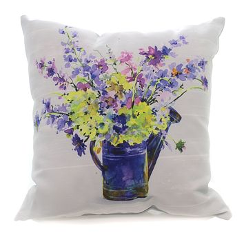 Home & Garden Purple Flowers Watering Can Pillow Accent Pillow